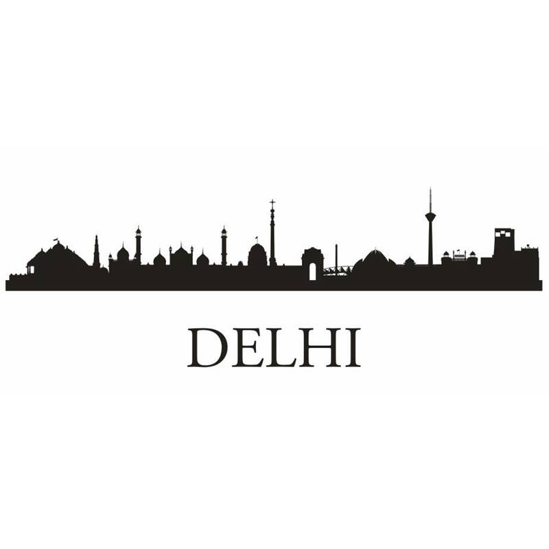 DELHI City Decal Landmark Skyline Wall Stickers Sketch Decals Poster Parede Home Decor Sticker