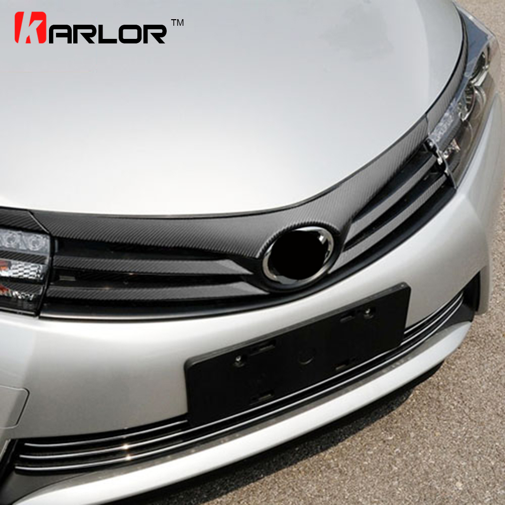 11pcs/set Colorful Grille Grill Carbon Fiber Stickers And Decals Car-styling For Toyota Corolla 2014 2015 2016 Accessories