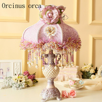 Korean Cute Pink table lamp Princess Room girls bedroom bedside lamp European garden decorative cloth lace table lamp
