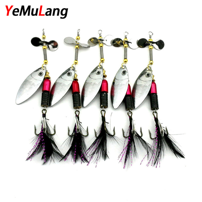 YeMuLang 1Pcs 10cm 13g Metall Sequins Fiske Lure Spoon Noise Paillette Hårda Baits With Feather Diskant Hook Pesca För Fiske