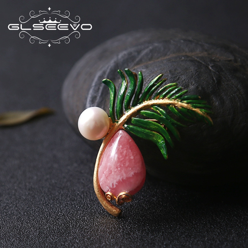 GLSEEVO Natural Rhodochrosite Fresh Water Pearl Leaf Brooch Pins And Brooches For Women Gift Dual Use Luxury Fine Jewelry GO0185 glseevo natural rhodochrosite fresh water pearl leaf brooch pins and brooches for women gift dual use luxury fine jewelry go0185