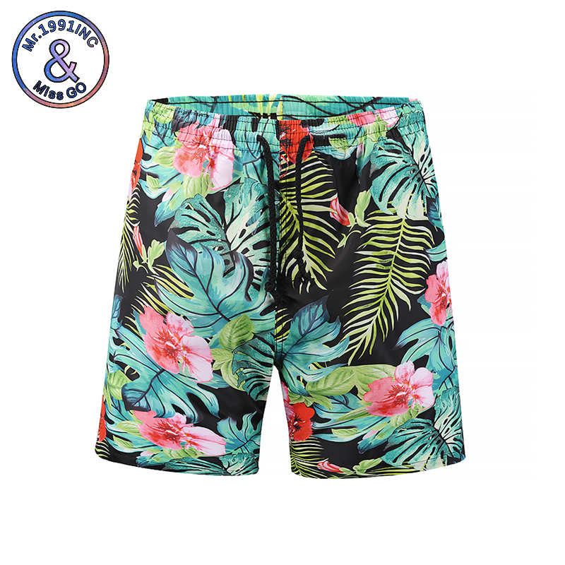 Mr.1991INC Casual   Shorts   Men 2018 New Beach   Board     Shorts   3d Plant Printing Male Fast Drying Middle Pants (European Code)
