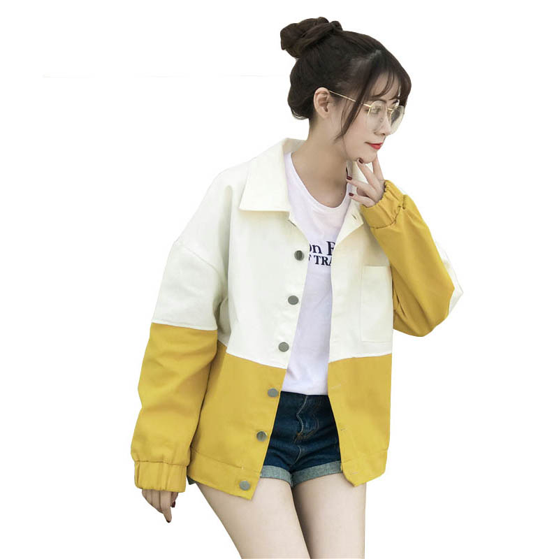 2019 New Spring Long Sleeve   Basic     Jackets   Women Baseball Coat Fashion Hit Color Harajuku Style Print Women Bomber   Jacket   Coats