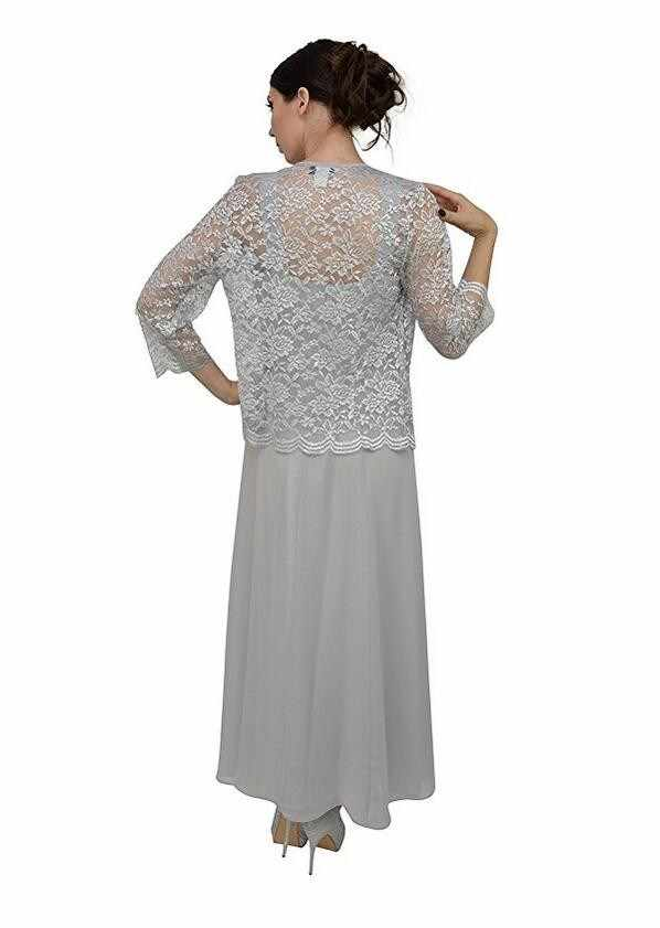 Vestidos de Fiesta de talla grande con chaqueta de encaje elegante vestido de fiesta largo de gasa champán Madre de la novia