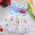 2016 baby girls dress summer new cowboy patchwork dress sleeveless Color the sun flower hems baby clothing casual Baby clothes