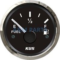 KUS Marine Fuel Level Gauge Boat Truck Car Fuel Tank Level Indicator 12/24V 52mm 240-33ohms Steel Bezel Black Face