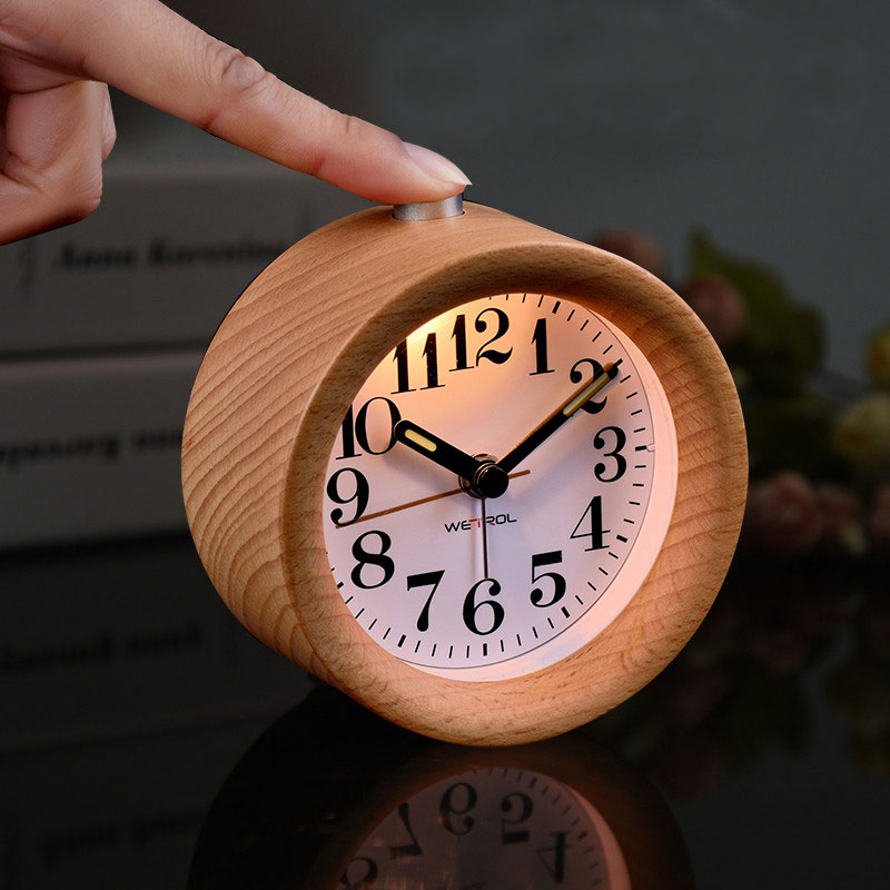 Small Round Classic Wooden Silent Desk Travel Alarm Clock With Nightlight