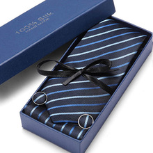 Gift Box 38 styles Tie Set Hanky Cufflinks With Gift Box Jacquard Woven Neckties Set For Men Wedding Party Lots of accessories pair of chic police box shape cufflinks for men