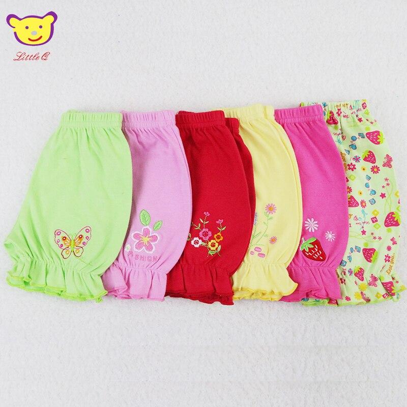 2019 Little Q Summer Baby Pure 100% Cotton Shorts Newborn Girls Sleep Underwear 0-12 M Toddler Clothes 6pcs/lot Kidwear