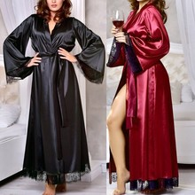 Sexy Sexy Satin Silk Night Robe Lace Bathrobe Perfect Wedding Bride  Bridesmaid Long Robes Kimono Dressing f11b18a4f