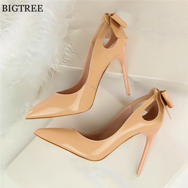 BIGTREE Woman Fashion Bowtie Pointed Toe High Heels Shoes 2019 Patent Leather Shallow Women Pumps Sexy Cut-Outs Party Shoes 10cm