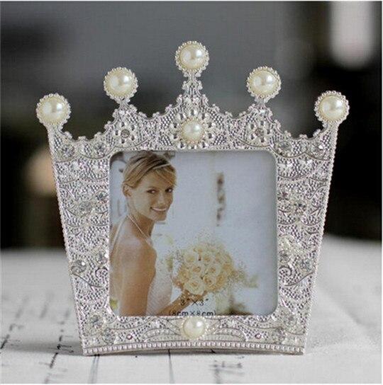 "3"" Crystal Pearl Crown Wedding Baby Photo Frame Metal Home"