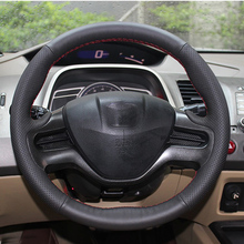 цена Free Shipping High Quality cowhide Top Layer Leather handmade Sewing Steering wheel covers protect For Honda City в интернет-магазинах