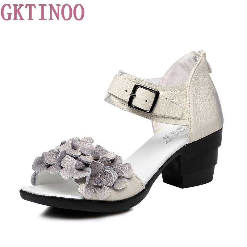 Women Thick Heels Sandals Peep Toe Flower Ethnic Style Handmade Genuine Leather Personalized Women Sandal