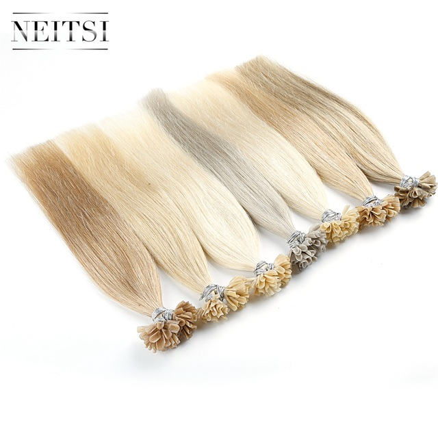 """Neitsi Straight Keratin Capsules Human Fusion Hair Nail U Tip Machine Made Remy Pre Bonded Hair Extension 16"""" 20"""" 24"""" 1g/s 50g 1"""