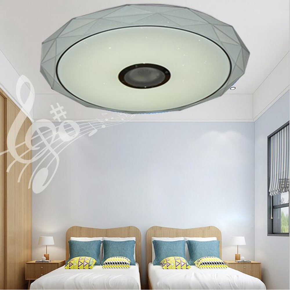 36W Ceiling Light Modern With Bluetooth Speaker Diamond Shape LED Ceiling Lights for Living Room Kitchen Kids Room Music Player living with music