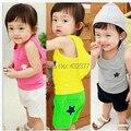 Новый 2014 мальчик и девушки одежда комплект розничные лето детская одежда комплект по уходу за детьми звезда шаблон жилет + брюки в горошек Twinset