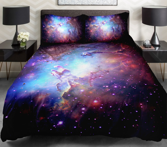 3d duvet cover printing galaxy on blue sheets and outer space bedding set bedspread with 2 - Space Bedding