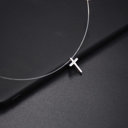 Jisensp Simple Invisible Chain Cross Necklace Pendants Lovely Heart Star Chokers Necklace Women Everyday Jewelry Birthday Gifts