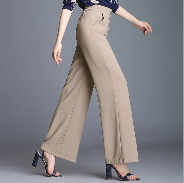 Women's Summer High Waist Double Layer Chiffon   Wide     Leg     Pants   Women Work Casual Trousers Flares Skirt Palazzo   Pants   Culottes 6XL