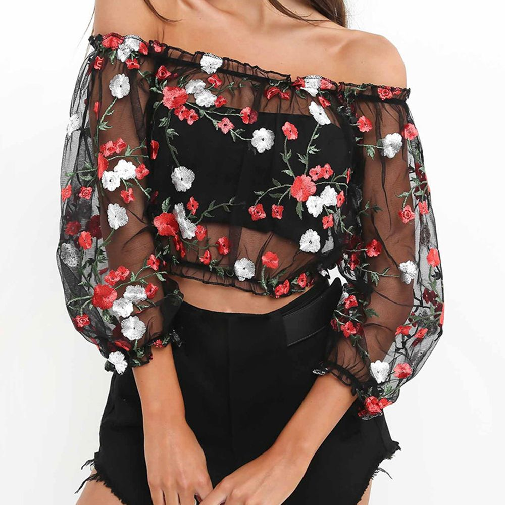 Mesh Flower Sexy Perspective Gauze Embroidery Word Shoulder Crop Top Summer Sexseries For Girls Party Club Girls Shirts