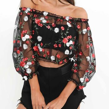 Mesh Flower Sexy Perspective Gauze Embroidery Word Shoulder Crop Top Summer Sexseries For Girls Party Club Girls Shirts girls open shoulder flower embroidery top
