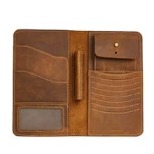 TRASSORY Long Genuine Leather Mens Wallet Vintage Crazy Horse Clutch Multi Functional Zipper Purse Passport Bag