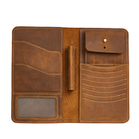 TRASSORY Long Genuine Leather Men's Wallet Vintage Crazy Horse Leather Clutch Multi Functional Zipper Purse Wallet Passport Bag