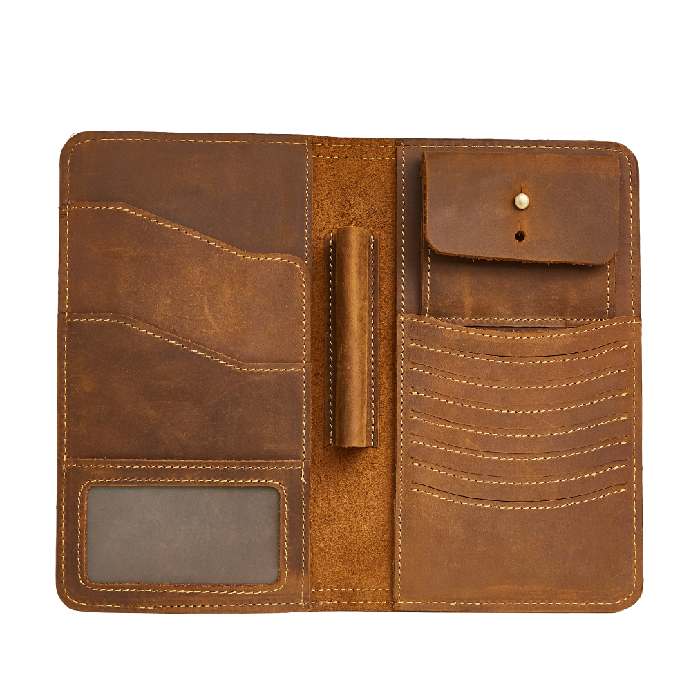 TRASSORY Long Genuine Leather Men's Wallet Vintage Crazy Horse Leather Clutch Multi Functional Zipper Purse Wallet Passport Bag