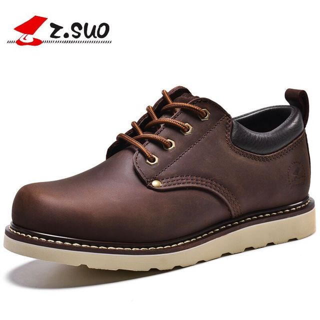 0298b330c409 Z.Suo Spring AutumnThe Best Quality Crazy Horse Leather Men s Work Shoes  British Low