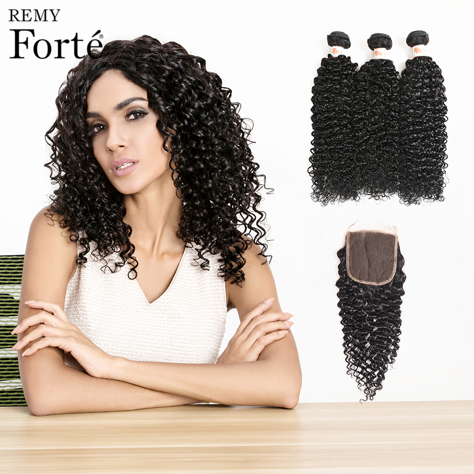 Remy Forte Office 30 Inch Wet and Wavy Human Hair With Closure Hair Extension Brazilian Curly Hair Weave Bundles With Closure