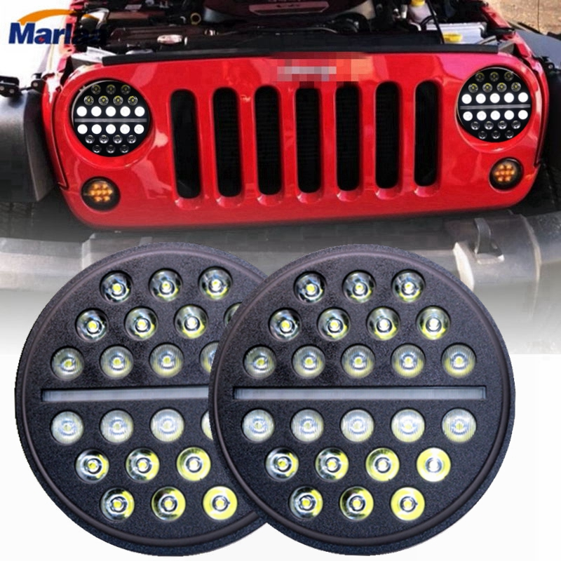 Marlaa For Jeep CJ-7 Nissan Led Headlight 7'' Round H4 6000K 7Inch Led Motor Light for Harley Lada Niva Toyota UAZ 4x4 Offroad led car headlights 7 angelic eyes 50w h4 hi lo with mask for jeep lada nissan safari nissan patrol toyota land cruiser prado