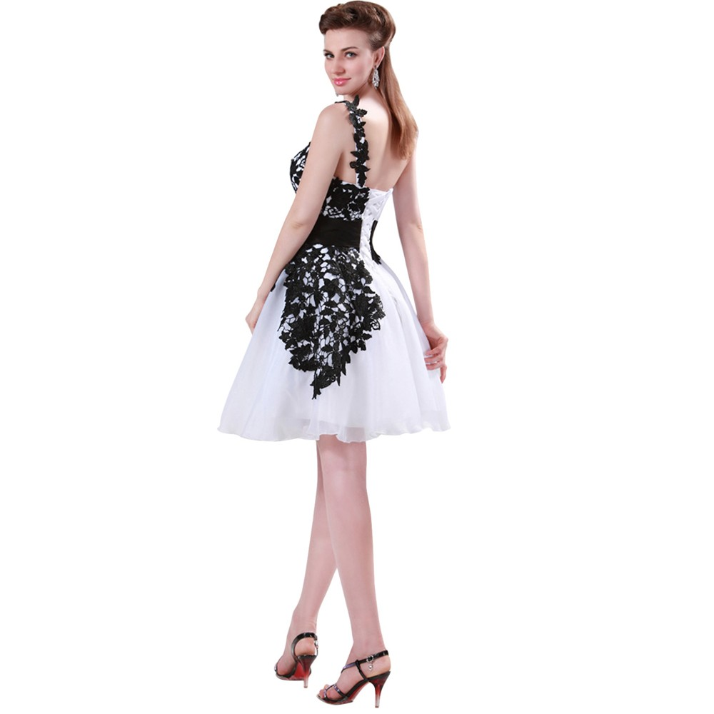 Grace Karin White and Black One Shoulder Lace Short Prom Dresses Ball Gown Knee Length School Party Dress Cute GK4288 11