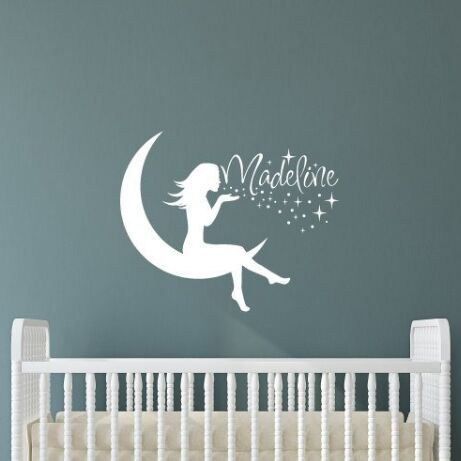 Personalized Name Fairy Silhouette Wall Sticker  Moon and Vinyl Stickers Removable Art Poster Girls Room AY1831