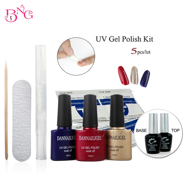 Dannail Gel Timeless Party Long Lasting Soak Off UV Polish Gel+Base Coat+Top Coat Tool Kit with File Remover Pad Cuticle Oil Pen