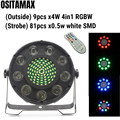 LED Par Дискотека свет 9x4 Вт RGBW 4в1 Par 64 мыть свет ИК-пульт с 81 шт. Белый SMD Luces для ночного клуба DJ сценическое освещение