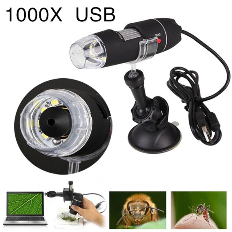 Microscopio USB portátil luz microscopios portátiles de mano herramienta de succión 1000X8 LED cámara Digital endoscopio Microscopio