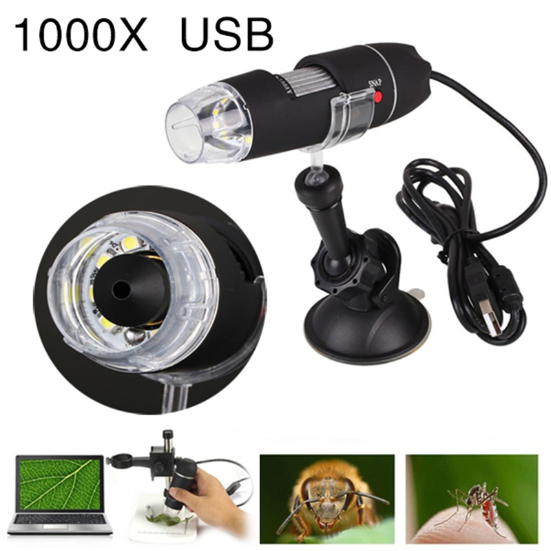 USB portatile di Luce del Microscopio Tenuto In Mano Elettrico Microscopi Strumento di Aspirazione 1000X8 LED Digital Dell'endoscopio Della Macchina Fotografica Microscopio
