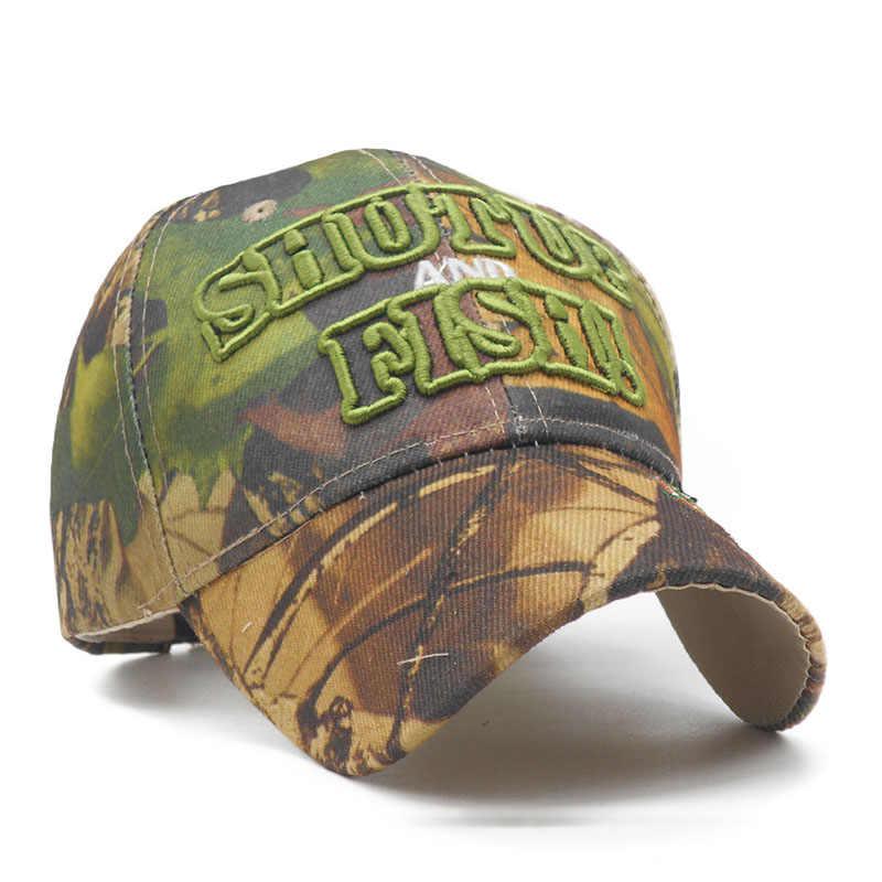 cca0f96596fbf ... Mens Fishing Camo Cap Outdoor Hunting Baseball Cap Visor 3D Letter  Embroidery Dad Hat Deer Bull ...