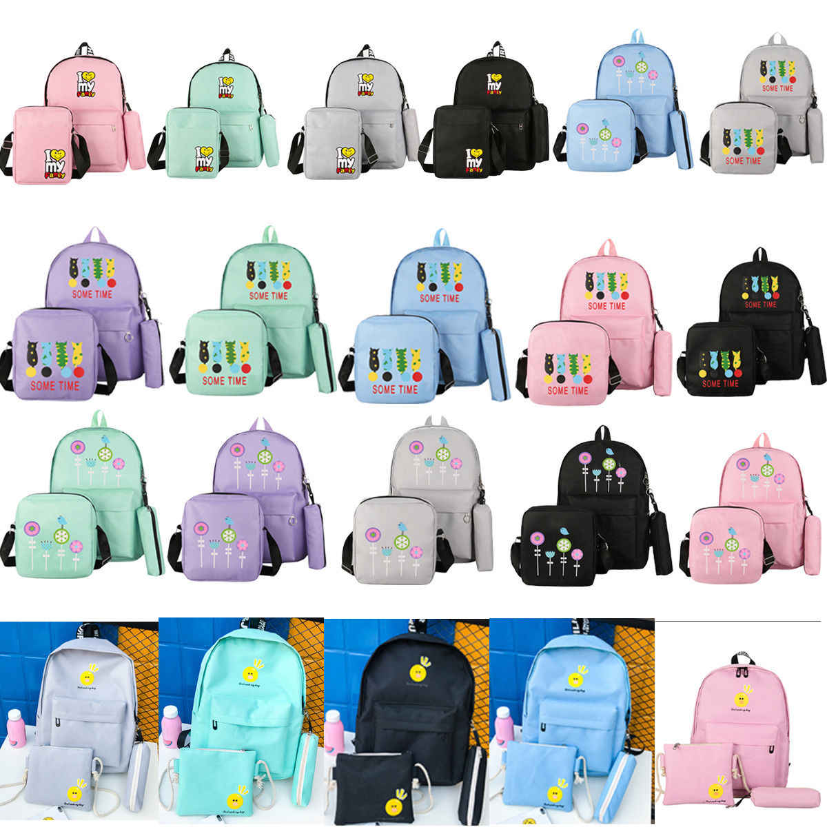 38b952427 Women Canvas Backpack Travel Bags School Bags For Students 3PCS Backpack  Sets Cartoon Lady Girls Backpack