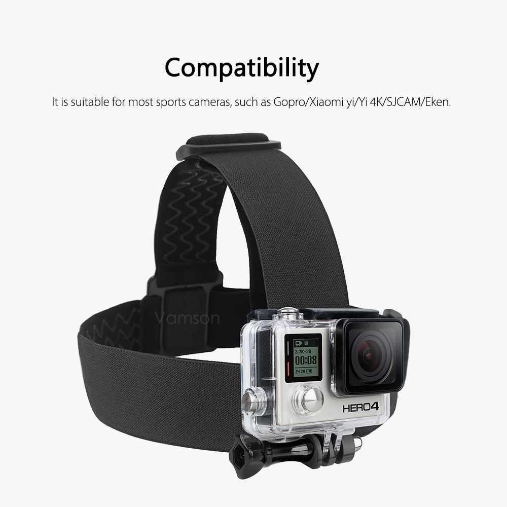 Vamson Head Strap for Gopro hero 9 8 7 Accessories Head Belt Strap Mount Adjustable for Gopro Hero 7 6 5 4 for SJCAM VP202-4