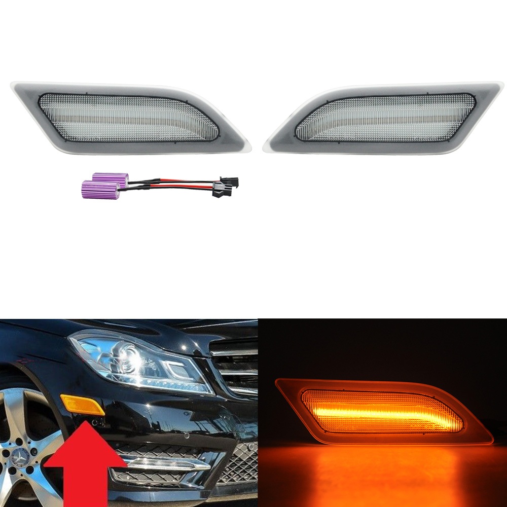 Clear Lens Amber LED Side Marker Lights For <font><b>Mercedes</b></font> Benz 2012-2014 W204 LCI C250 <font><b>C300</b></font> C350 Sedan/<font><b>Coupe</b></font> image