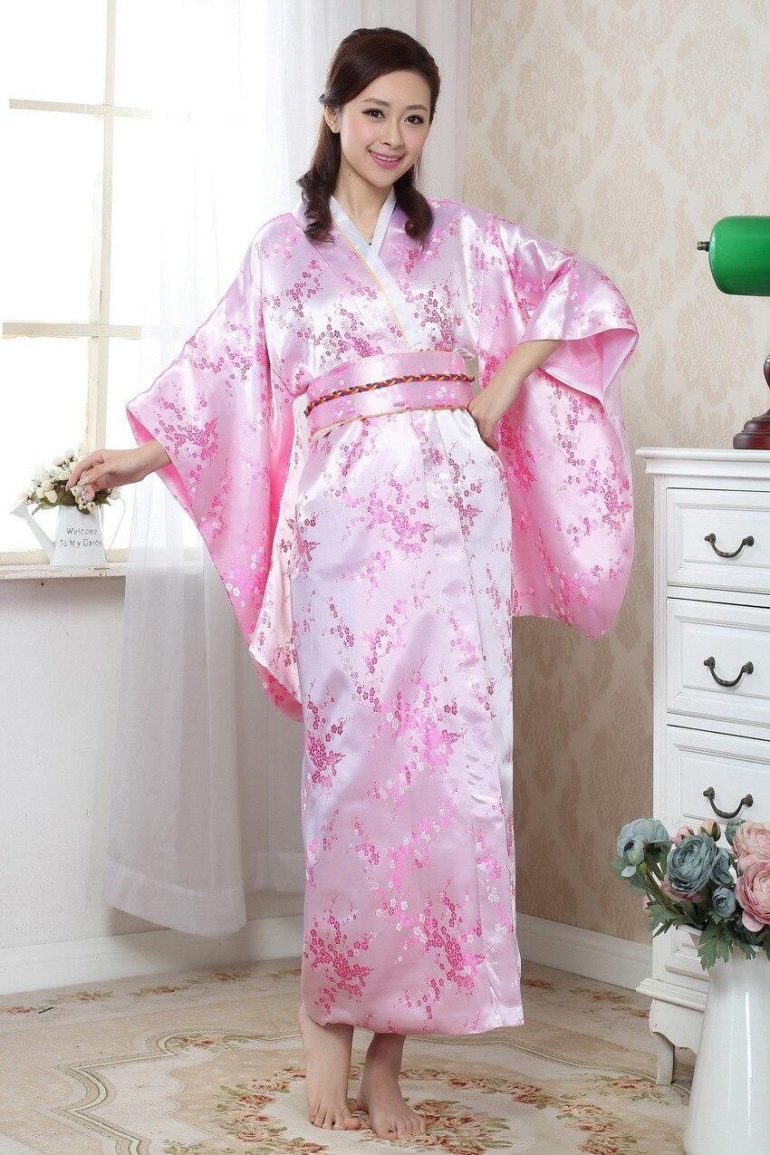 Nouveauté rose japonais femmes Kimono Yakata avec Obi traditionnel soie Satin robe de soirée Costume d'halloween taille unique B-029