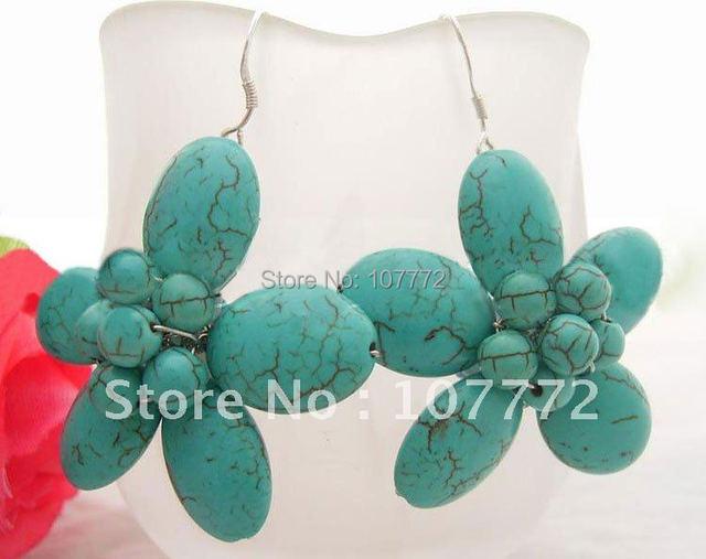 Turquoise Flower Earrings-925 Sliver Hook