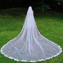 Real Photos 5 Meters Long Lace Appliques Edge Wedding Veil with Comb Elegant White Ivory M Bridal Voile Mariage