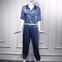 2019 summer safari style Blue short sleeved jumpsuit women fashion high waist casual ankle length overalls