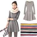 2016 Novas Roupas Da Moda Primavera Mulheres Vestido de Inverno 100% Algodão Outono Feminino Vestido de Manga Comprida Vestido de Lã O-pescoço Vestidos A006