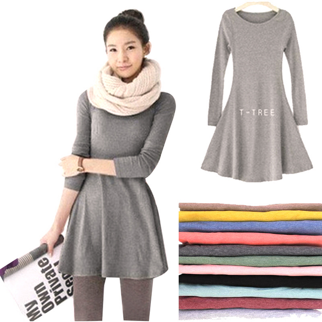 c057e3c4464 2018 New Fashion Clothes Spring Women Dress Cotton Autumn Winter Dress  Female Long Sleeve Dress O-Neck Woolen Dresses DR276