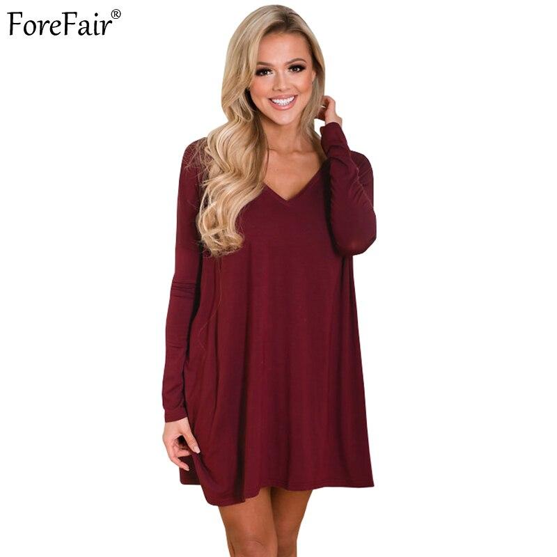 111f2f48b60f ForeFair Autumn Long Sleeve V-Neck Loose Casual Dress Women Plus Size Burgundy  White Dresses