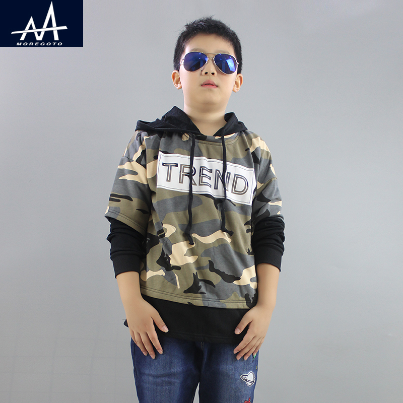 2017 Full Streetwear Spring Autumn Childrens Hoodies Sweatshirt Boys Cotton Sweater Coat Fat Boy Camouflage Hoodies Teen 12y
